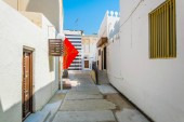 View of whitawashed houses situated alongside the famous, unesco enlisted, pearl trade trail in AL Muharraq island, Bahrain.