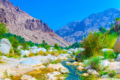 Wadi Tiwi in Oman is a natural wonder combining stream of turqoise water, lush palms growing on its shore and a deep gorge with steep slopes.