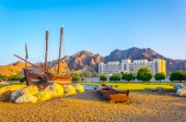 Famous Sohar boat from Omani seafarer Ahmed bin Majid at the Al Bustan Roundabout in Muscat Oman
