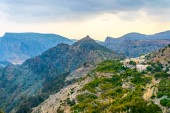 View of small rural villages situated on the saiq plateau at the jebel akhdar mountain in Oman.