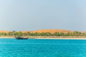 View of the Lulu island in Abu Dhabi whose unspoiled nature stays in contrast with the rapidly developed city.