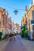 HAARLEM, NETHERLANDS, AUGUST 8, 2018: Classical red brick houses