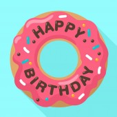 Vector Birthday icon of a sweet donut in a pink glaze On the donut chocolate inscription: Happy Birthday Illustration of a dessert in a flat style