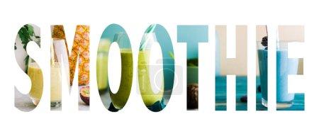 Foto de Imagen de texto de batido, compuesto con texto de palabra de batido aplicado sobre un collage de imágenes temáticas de batido . - Imagen libre de derechos
