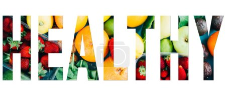 Photo for Healthy  text image, composite with healthy  word text applied over a collages of fruit  images. - Royalty Free Image