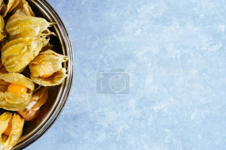 Photo for Top view of Physalis alkekengi fruit on concrete table - Royalty Free Image