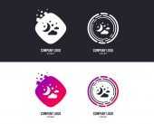 Logotype concept Moon clouds and stars icon Sleep dreams symbol Night or bed time sign Logo design Colorful buttons with icons Vector