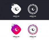 Logotype concept Moon and stars icon Sleep dreams symbol Night or bed time sign Logo design Colorful buttons with icons Vector