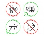 Do or Stop 24h service Cogwheel and Shop cart icons simple set E-mail sign Call support Engineering tool Web buying Mail delivery Business set Line 24h service do icon Prohibited ban stop
