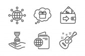 Wallet Time hourglass and Travel passport icons simple set International globe Gift dream and Guitar signs Money payment Sand watch Business set Line wallet icon Editable stroke Vector