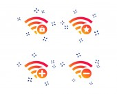 Wifi Wireless Network icons Wi-fi zone add or remove symbols Favorite star sign Password protected Wi-fi Random dynamic shapes Gradient wi-fi icon Vector