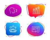 Graph chart Car travel and Face id icons simple set Technical info sign Growth report Transport Identification system Documentation Speech bubble graph chart icon Colorful banners design set