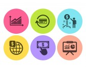 Graph World money and Refund commission icons simple set Payment click Income money and Presentation signs Presentation diagram Global markets Finance set Flat graph icon Circle button Vector