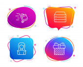 Push cart Woman and Servers icons set Surprise sign Express delivery Girl profile Big data Vector