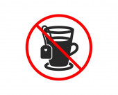 Tea with bag icon Hot drink sign Vector