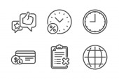 Like Payment method and Loan percent icons set Time Reject checklist and Globe signs Vector