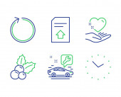 Upload file Loop and Car service icons set Christmas holly Hold heart and Time signs Vector