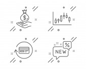 Refund commission Candlestick graph and Income money icons set New sign Vector