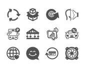 Set of Technology icons such as Refund commission Smile face Bus parking Vector
