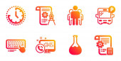 Computer keyboard Web call and Chemistry lab icons set Time Bus parking and Group signs Vector