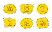 Edit document Online chemistry and Time icons set Washing machine Seo devices and Time zone signs Vector