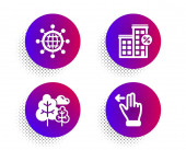 Tree International globe and Loan house icons set Touchscreen gesture sign Vector