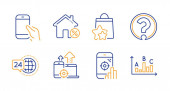 Loan house Seo devices and Loyalty points icons set Seo phone Question mark and 24h service signs Vector