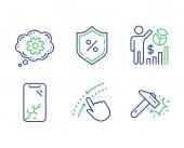 Smartphone broken Loan percent and Seo statistics icons set Cogwheel Swipe up and Hammer blow signs Vector