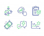 Graph chart Block diagram and Survey checklist icons set Payment Lightning bolt and Ranking stars signs Vector