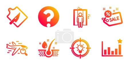 Serum oil, Search flight and Sale line icons set. ...