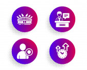 Exhibitors Arena stadium and Security icons set Time management sign Vector