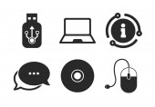 Computer mouse and CD or DVD sign symbols Chat info sign Notebook pc and Usb flash drive stick icons Classic style speech bubble icon Vector