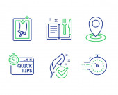 Location Recipe book and Hypoallergenic tested icons set Quick tips Window cleaning and Timer signs Vector