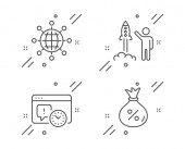 Launch project International globe and Project deadline icons set Loan sign Vector
