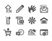 Set of Business icons such as Versatile Increasing percent Water glass Vector