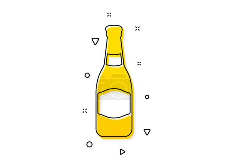 Illustration for Pub Craft beer sign. Beer bottle icon. Brewery beverage symbol. Yellow circles pattern. Classic beer bottle icon. Geometric elements. Vector - Royalty Free Image