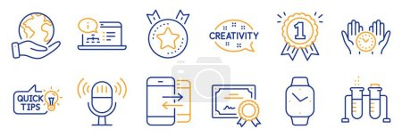 Illustration for Set of Education icons, such as Safe time, Reward. Certificate, save planet. Education idea, Online documentation, Chemistry beaker. Microphone, Ranking star, Creativity. Vector - Royalty Free Image