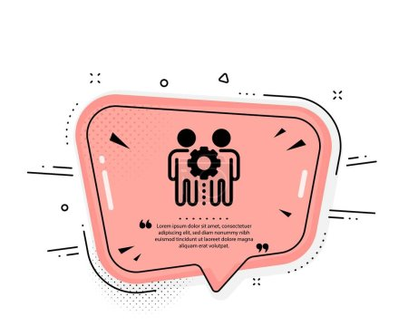 Illustration for Employees teamwork icon. Quote speech bubble. Collaboration sign. Development partners symbol. Quotation marks. Classic employees teamwork icon. Vector - Royalty Free Image