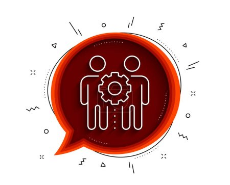 Illustration for Employees teamwork line icon. Chat bubble with shadow. Collaboration sign. Development partners symbol. Thin line employees teamwork icon. Vector - Royalty Free Image