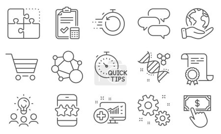 Illustration for Set of Technology icons, such as Fast recovery, Accounting checklist. Diploma, ideas, save planet. Star, Market sale, Talk bubble. Payment click, Work, Quick tips. Vector - Royalty Free Image