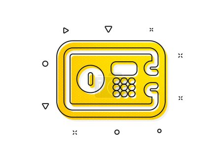 Illustration for Secure deposit sign. Safe box icon. Hotel service symbol. Yellow circles pattern. Classic safe box icon. Geometric elements. Vector - Royalty Free Image