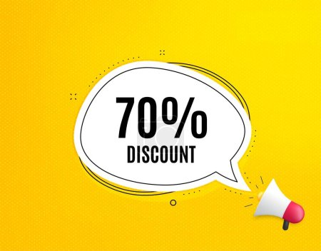 Illustration for 70% Discount. Megaphone banner with chat bubble. Sale offer price sign. Special offer symbol. Loudspeaker with speech bubble. Discount promotion text. Social Media banner. Vector - Royalty Free Image