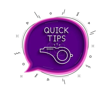Illustration for Quick tips whistle line icon. Chat bubble with shadow. Helpful tricks sign. Thin line tutorials icon. Vector - Royalty Free Image