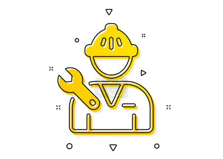 Illustration for Repairman service sign. Spanner tool icon. Fix instruments symbol. Yellow circles pattern. Classic repairman icon. Geometric elements. Vector - Royalty Free Image