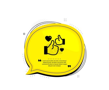 Illustration for Like icon. Quote speech bubble. Thumbs up with heart sign. Positive feedback, social media symbol. Quotation marks. Classic like icon. Vector - Royalty Free Image