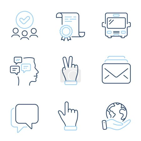 Illustration for Talk bubble, Messages and Click hand line icons set. Diploma certificate, save planet, group of people. Bus, Victory hand and Mail signs. Chat message, Notifications, Direction finger. Vector - Royalty Free Image