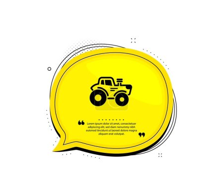 Illustration for Tractor transport icon. Quote speech bubble. Agriculture farm vehicle sign. Quotation marks. Classic tractor icon. Vector - Royalty Free Image