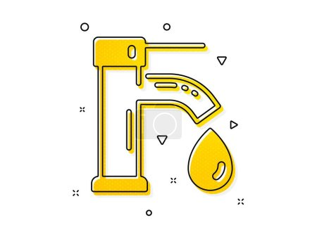 Illustration for Faucet with aqua drop sign. Tap water icon. Sanitary engineering symbol. Yellow circles pattern. Classic tap water icon. Geometric elements. Vector - Royalty Free Image
