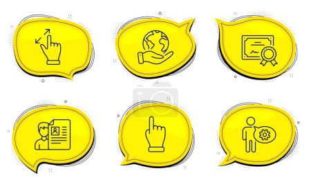 Illustration for Click hand sign. Diploma certificate, save planet chat bubbles. Cogwheel, Touchscreen gesture and Job interview line icons set. Engineering tool, Zoom in, Cv file. Direction finger. People set. Vector - Royalty Free Image