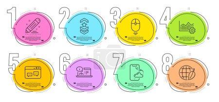 Umwelttag, Operative Exzellenz und Smartphone-Cloud-Zeichen. Zeitachse Schritte Infografik. Schultergurt, Markenvertrag und Online-Dokumentation Liniensymbole gesetzt. Vektor